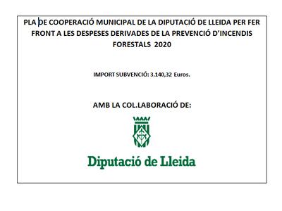 Pla de cooperació municipal per fer front a les despeses de prevenció d'incendis forestals 2020