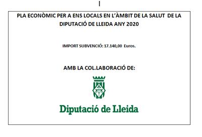 Pla econòmic per a ens locals en l'àmbit de la salut de la Diputació de Lleida, any 2020