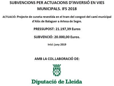 Projecte de cuneta revestida en el tram del congost del camí municipal d'Alòs de Balaguer a Artesa de Segre