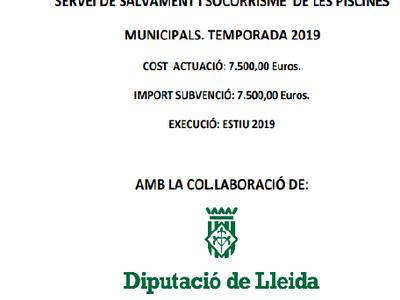 Servei de salvament i socorrisme de les piscines municipals. Temporada 2019